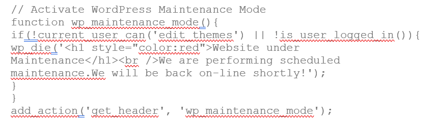 Custom Code to display a maintenance page